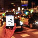 Uber app in use