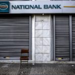 Closed bank branch in Greece.