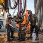Shale oil gas rig workers