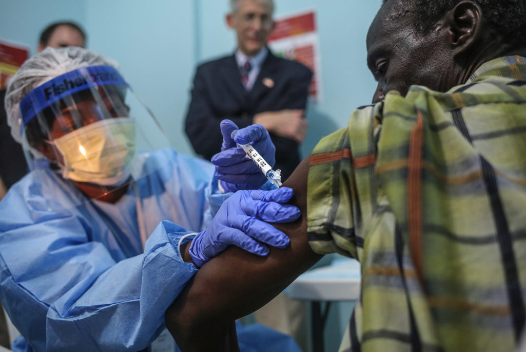 Patient injected with Ebola Vaccine during clinical trial.