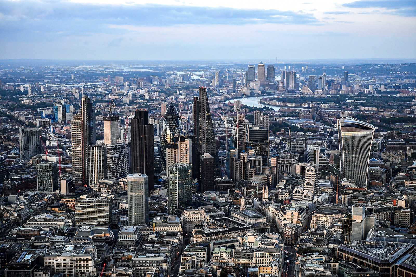 An aerial view of Londonu0027s financial district