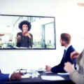 Shot of a team of colleagues having a video conference.