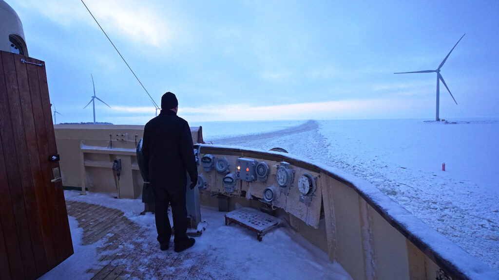 The forward view of the ice channel from the bridge of the icebreaker 'Sampo'.
