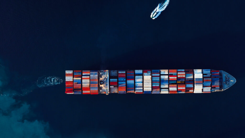 A shipping container from above